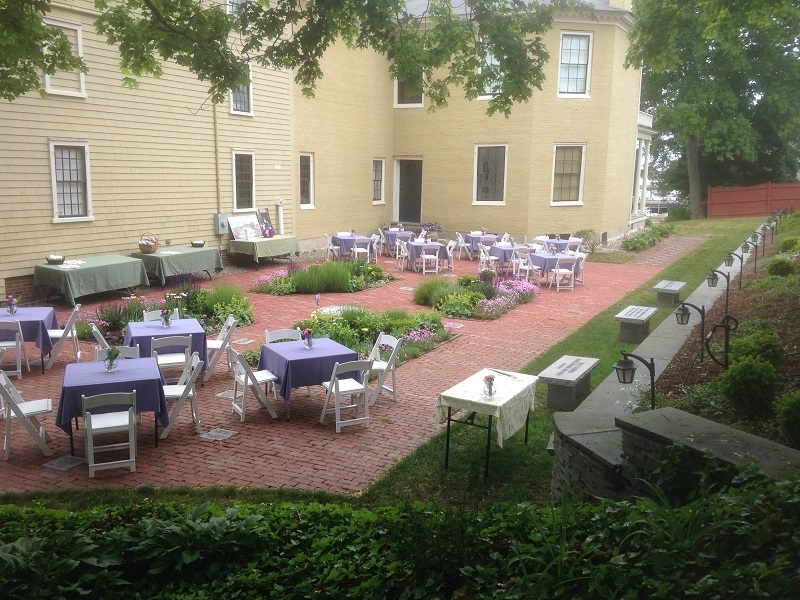 historic house patio and garden